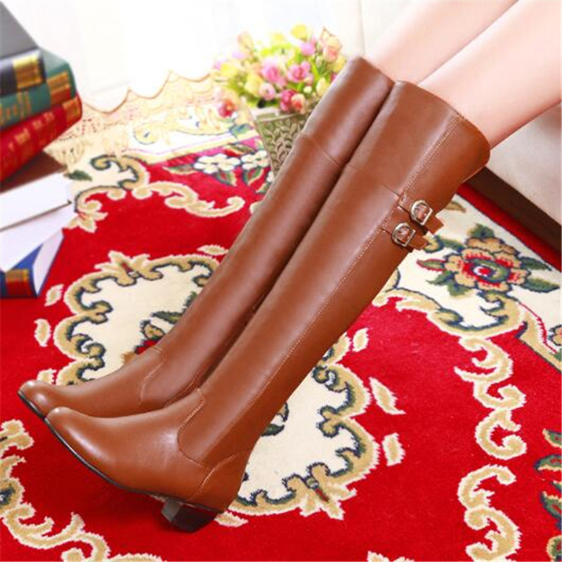 ECHOES plus big size 34-43 platform knigh boots winter snow knee womens shoes four color buckle slip