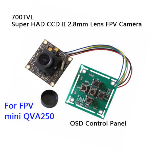New HD 1/3″ Sony CCD 700TVL Mini CCTV PCB FPV Tiny Wide Angle Color Camera 2.8mm Lens+OSD Control Panel for RC