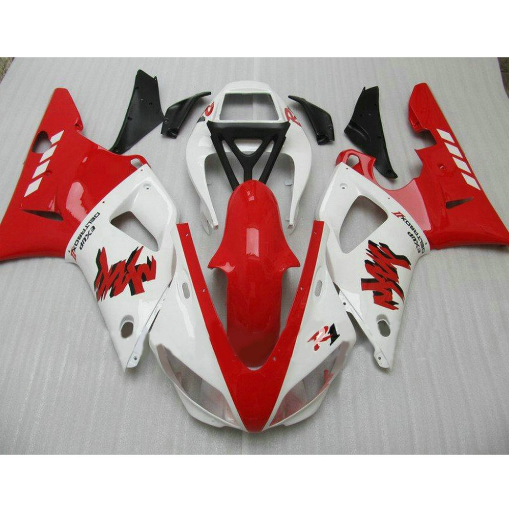 Popular ABS motorcycle injection molded fairings kit for YAMAHA 1998 1999 YZFR1 YZF R1 98 99 red white plastic fairing(China (Mainland))