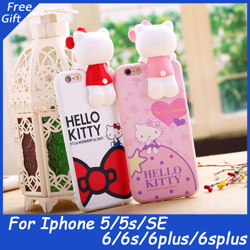Hot Korea Cat Design coque for Iphone6 6s 6plus 5 5s SE 3D hello kitty phone case coque funda carcasa capa soft Silicon cover(China (Mainland))