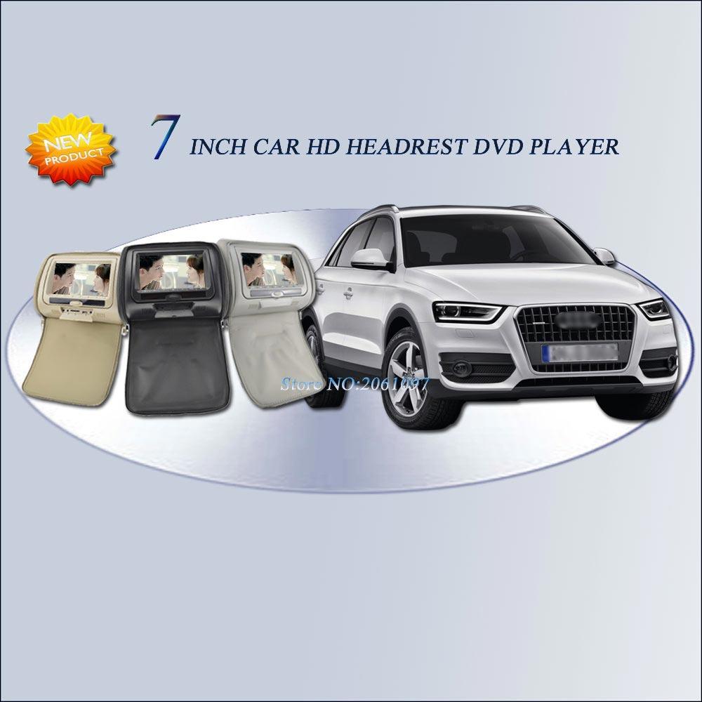 "For Audi Q3 / 2016 2*7"" inch Car Headrest DVD Player Digital Screen zipper USB FM TV Game IR Remote 3 Color Optional(China (Mainland))"