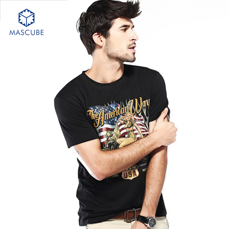 [MASCUBE]Men Short-sleeved T-shirt Street Rock Style tshirt Male cotton Slim Fashion Fitness Tees Tops New Brand Plus Size M-6XL(China (Mainland))