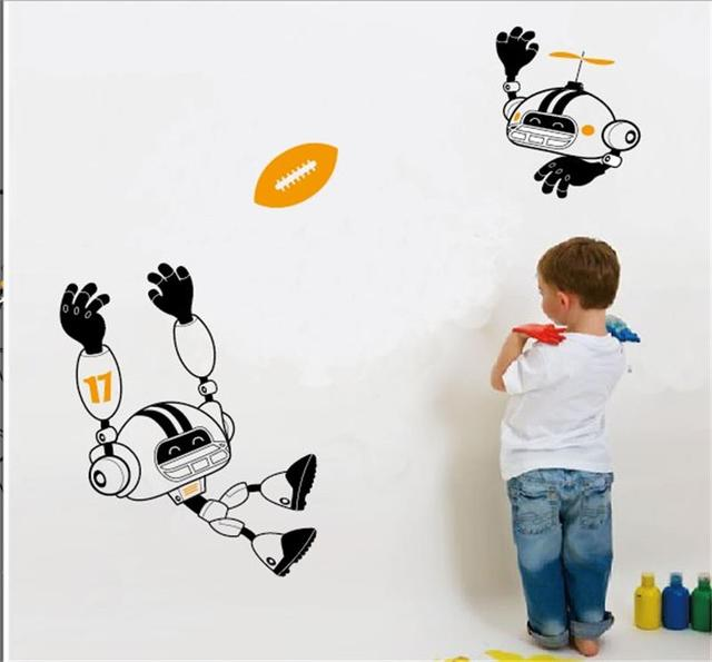 104 * 77 см мультфильм робот играть в футбол серии наклейки детская комната декор мальчик помещений украшения