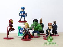 8pcs/set WCF Avengers 2 Age of Ultron PVC Figure Toys Thor Hulk Iron Man Captain America Black Widow Hawkeye Loki IM006