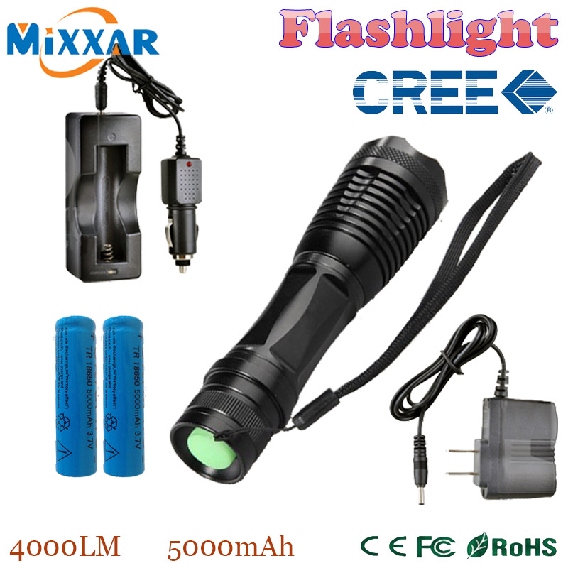 zk20 CREE XM-L T6 LED Lantern 4000LM E17 Aluminum Torches Zoomable LED Flashlight Torch Lamp contain two batteries two chargers(China (Mainland))