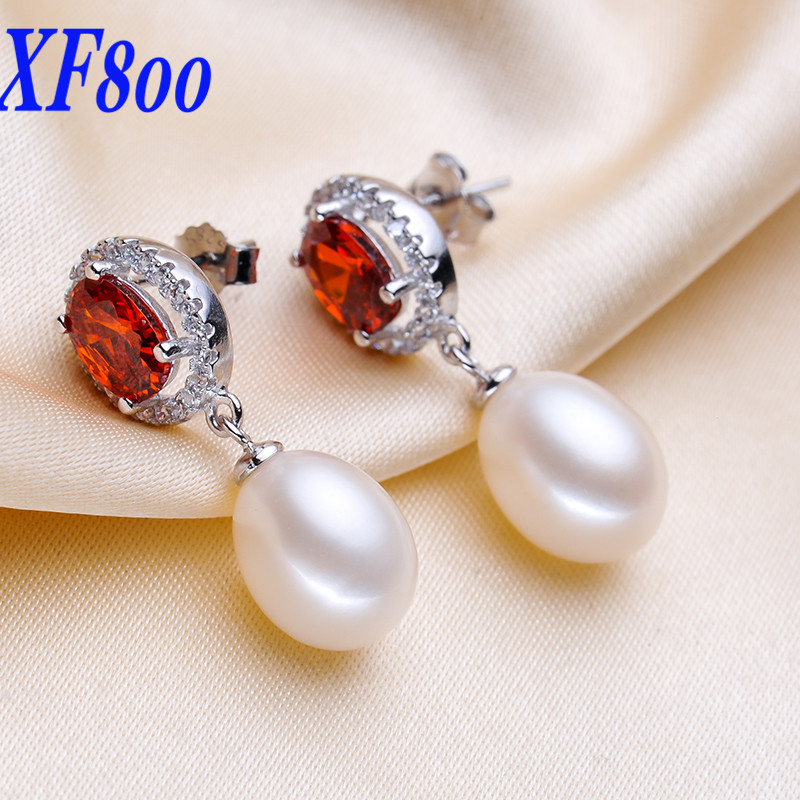 XF800 charming white natural pearl  earrings ,8-9mm drop shape pearl jewelry Engagement wedding for women S06
