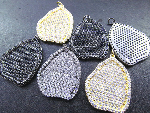 6pcs 30-50mm CZ Micro Pave Diamond Freeform Slab Leaf Leave round Coin Rectangle Link Connector Charms, Micro Pave Brass Connect(China (Mainland))