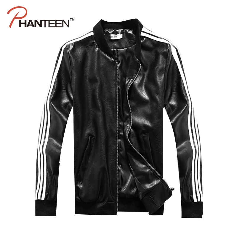 Beckham Style Black Color Sports Baseball Jacket Pu Leather Motorcycle Stand Collar Jacket Fashion Striped Men Outerwear(China (Mainland))