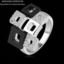 Best Selling Items Square Rings Unique Design Real 18K Rose Gold Genuine SWA Stellux Austrian Crystal Rings Bijoux RI-HQ1114