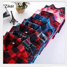 Ziker M 5XL Autumn Winter Plaid Shirt Female College style women s Blouses Long Sleeve Flannel