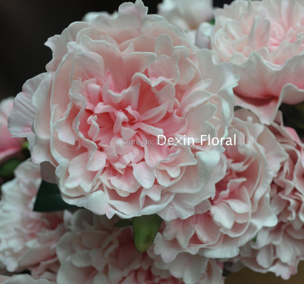 NEW!!NATURAL/REAL TOUCH  FLOWERS WHITE/PINK PEONY WITH STEMS FOR WEDDING BOUQUETS DECORATION+FREE SHIPPING