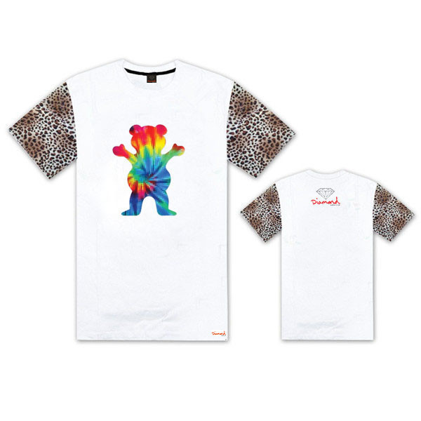 4 Colors Hot Sale New 100% Cotton Grizzly Grip x Diamond Multicolor Bear Print Men's O-Neck Leopard Print Short Sleeves T-shirts(China (Mainland))