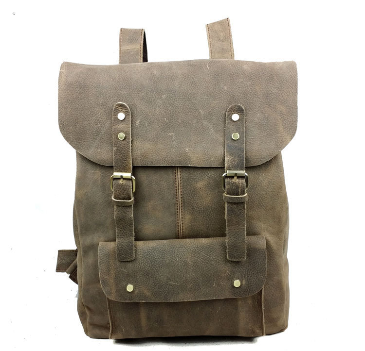 100% genuine leather wax oil men's backpack vintage leisure travel backpacks crazy horse real laptop bags - Handbag store