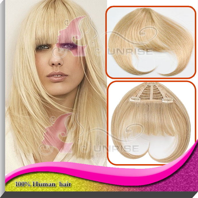 Blonde Human Hair Bangs Clip In Hair Extension Bangs virgin brazilian Human Hair Fringe Bangs