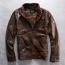 2016 Brown Scrub Cowskin Jacket Turn-down Collar Short Slim Fit Casual Business Genuine Cowskin Male Spring/Autumn Coats(China (Mainland))