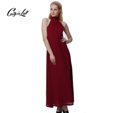 Women New Fashion Modern Duchess Burgundy Maxi Dress Halter Off Shoulder Back Bow Elegant Slim Causal Sexy Dress 2014