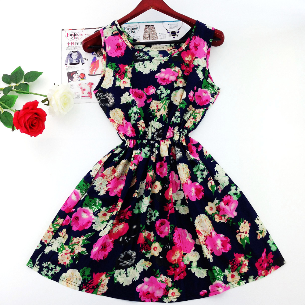 2015 European style plus size Fashion party Vest dress sexy Flower prints Slim Mini Dress Spring summer women dresses WC0375(China (Mainland))