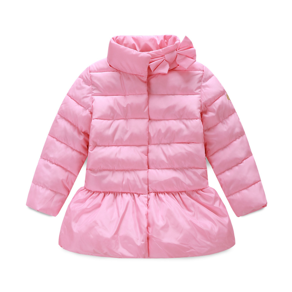 2015 Girls Winter Coat Stand Collar Down Jacket For Girls Parka Princess Kids Coats Clothes Bow Jackets Cotton Children Clothing<br><br>Aliexpress