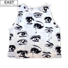 Summer Crop Top Fashion Vest New 2015 Eyes Print White Tanks Sexy Camis Women Clothing O Neck Tee Casual(China (Mainland))