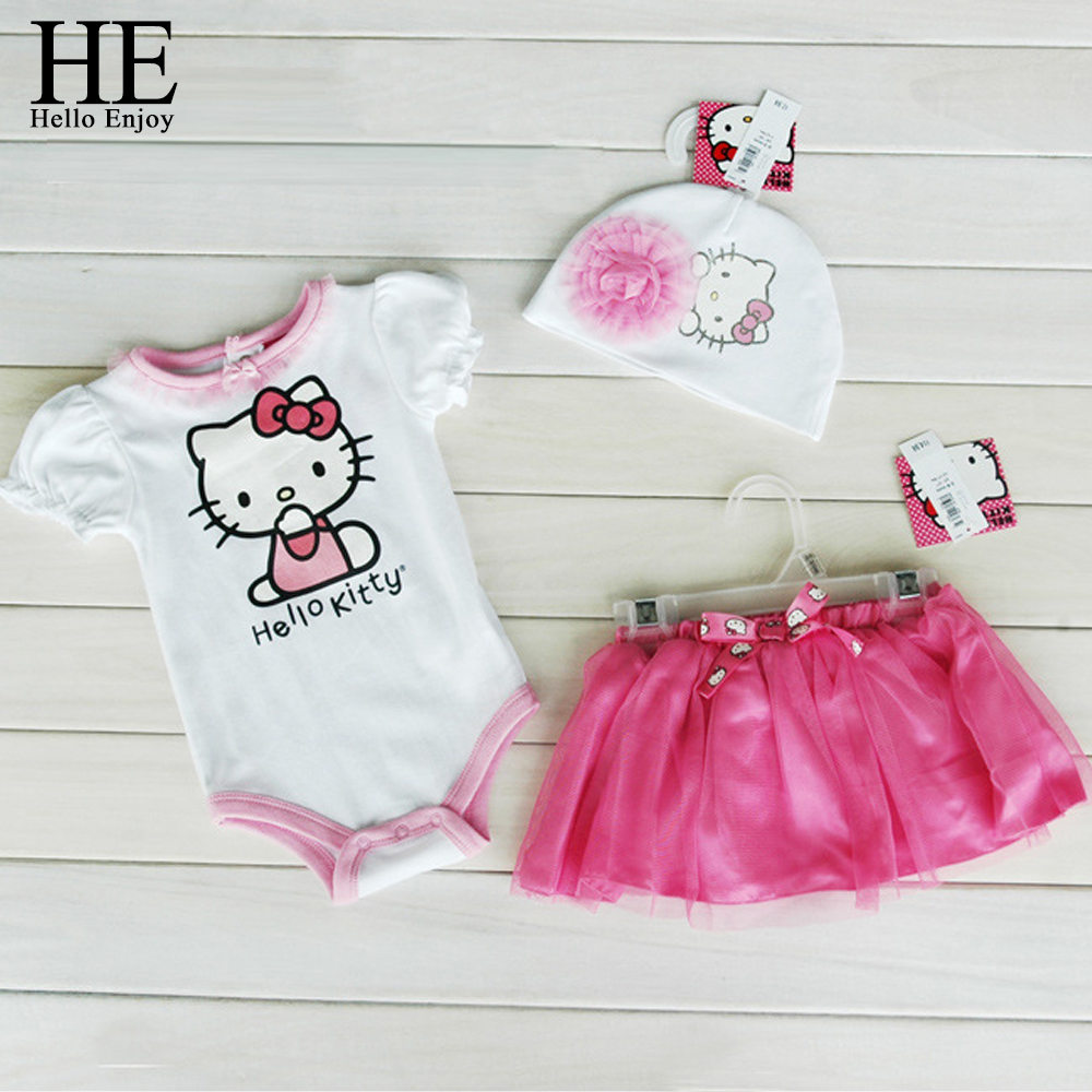 Baby girl clothes romper Hello kitty jumpsuit Kids clothes newborn conjoined creeper Gentleman Baby Costume dress 3pcs New 2016(China (Mainland))