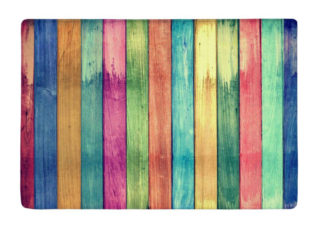 Floor Mat Vintage Colorful Wood Print Non Slip Rugs