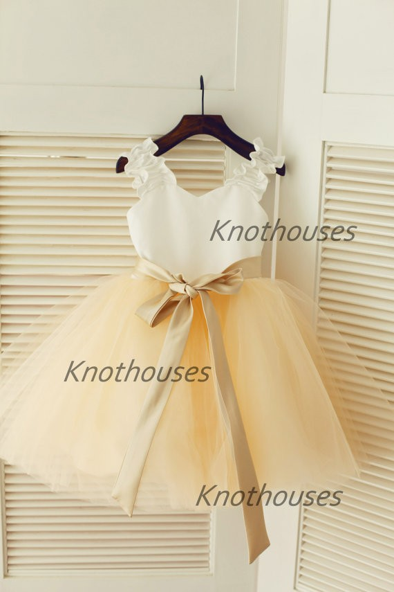 Ivory Satin Champagne Tulle TUTU Flower Girl Dress Champagne Sash Junior Bridesmaid Dress Toddler Kids Dress for Wedding(China (Mainland))