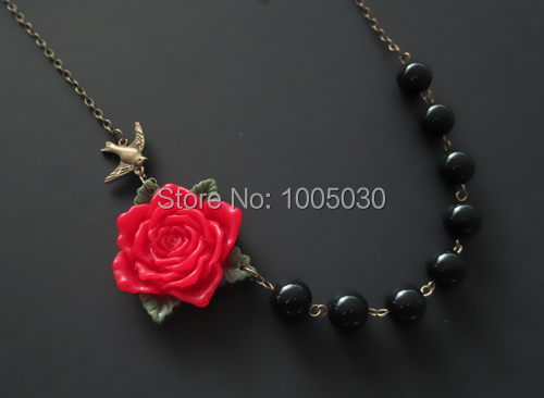 Holiday Necklace,Statement Necklace,Red Flower Necklace,Bridesmaid Jewelry,Black Jewelry,Beadwork,Gift for perfume women <br><br>Aliexpress