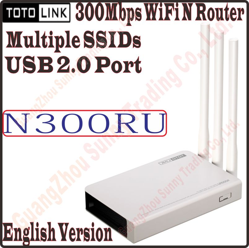 English TOTOLINK N300RU Wireless N 300Mbps WiFi Router WiFi Repeater with USB 2.0 Port Supports Printer Server/FTP Server PROM10(China (Mainland))