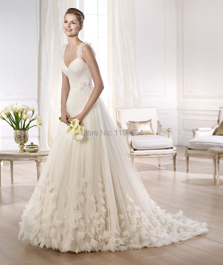 2014 beach wedding dresses white organza bridal gowns for In stock wedding dresses