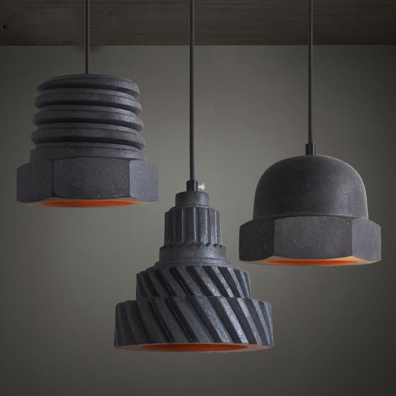 Designer Chandelier Lamp American Country Living Room Bar Restaurant Cafe Creative Burn Ceramic Black Nut Lights Single Head L40(China (Mainland))