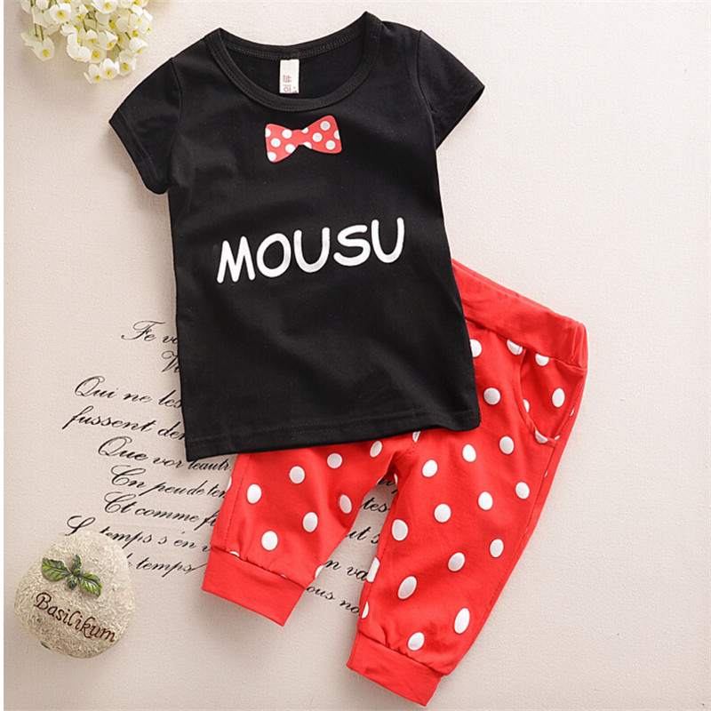 Special Offer Retail!Hot In The Summer Of 2016 The Children's Suit Sets The Boy Girl's Short Sleeve T-shirt + Dot Pants(China (Mainland))