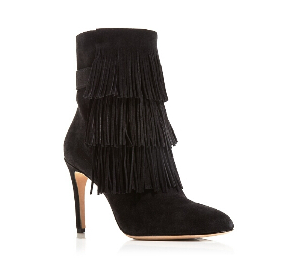 2015 New Arrival Fashion Sexy Nubuck Leather Tassel Fringes Mid-Calf Women Boots Thin High heels Back Zip Women Shoes Booties