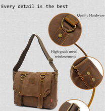 EcoCity Men s Vintage Canvas Leather School Military Shoulder Bag fashion leisure messenger bag men Men