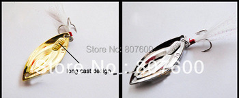 Fishing Casting Spoon Spinner Metal Bait Color Silver/Yellow Feather Hook Material Zinc-Alloy 54mm 14g 10 pcs/Lot