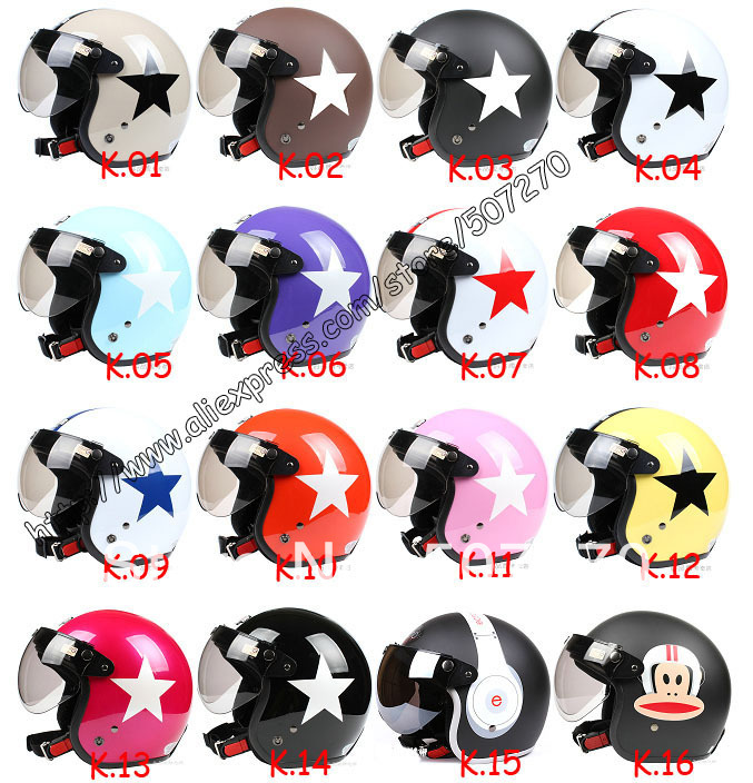 """Taiwan """" SYC """" Off Road Casco Open Face Scooter Helm Motorcycle """" Star Star """" Helmet & UV """" W """" Lens & Visor Adult --16 Colors(China (Mainland))"""