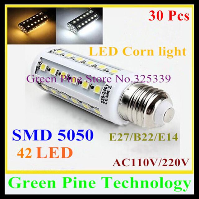 Free shipping 30 pcs E27 E14 B22 SMD 5050 42 led 9W AC110-240V Corn Bulb led droplight Lamp corn light led downlight Lighting