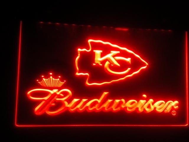 b-264 Kansas City Chiefs Budweiser Neon Signs Wholesale Dropshipping(China (Mainland))