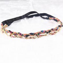 2 Colors Braided Fabric Headband Fashion Beads Plait Summer Beach Headbands Women Head Jewelry PY027(China (Mainland))