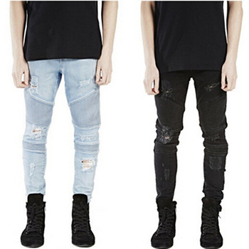 MCCKLE Hi-Street Mens Ripped Rider Biker Jeans Motorcycle Slim Fit Washed Black Grey Blue Moto Denim Pants Joggers  Skinny Men