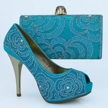 Free Shipping African Women Shoes And Bags Set!High Quality Italian Shoes And Matching Bags For Wedding!sky blue Color!WOW24