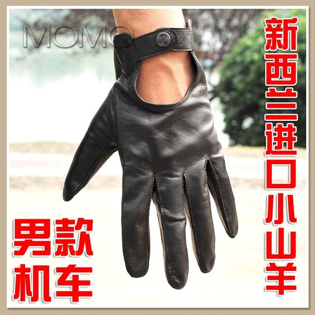 Fashion motorcycle gloves male genuine leather gloves sheepskin hasp driving gloves deep brown