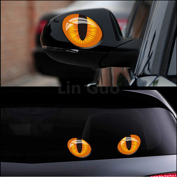 2015 New car styling Epoxy Solid cat's eye Universality case for VW BMW Honda Ford Nissan rearview mirror whole body sticker(China (Mainland))