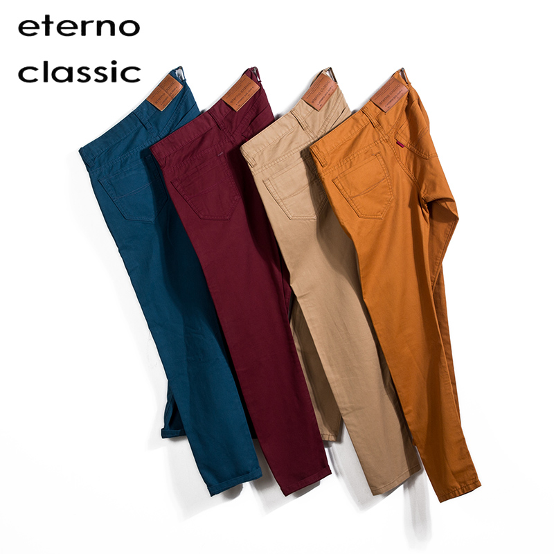 Eterno Classic Colored Fashion Khaki Business Mens Pants 100% Cotton Chino Autumn Casual Elastic Office Trouses Male 28-38 51003(China (Mainland))