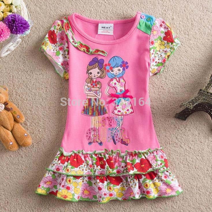 summer dress kids baby girls short-sleeved dresses design girls children's wear clothing girl dress O9(China (Mainland))