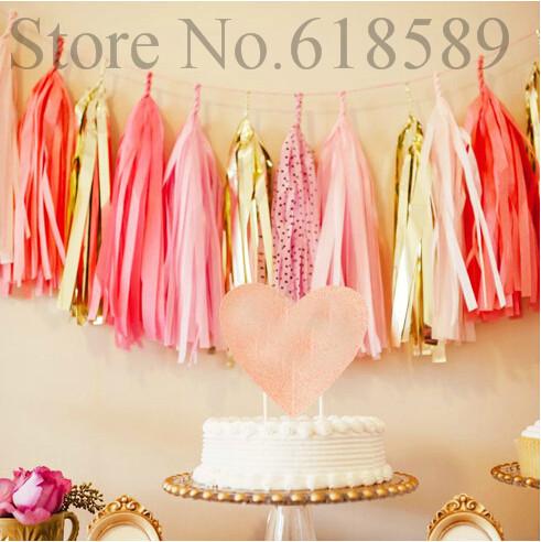 Free Shipping 50pcs/Lot Tissue Paper Tassel Garland Balloon Tassel Tail Wedding Paper Garland Party Decorations(China (Mainland))