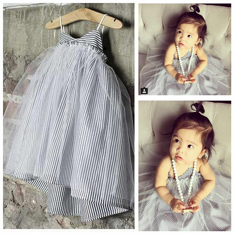 2015 Nununu brand summer new girls stripe gauze dress baby princess dress lovely tutu dress T996(China (Mainland))