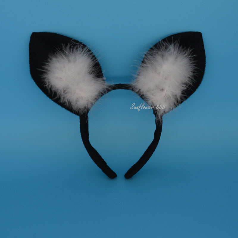 Black Feather Fly Pig Ear On Headband Fancy Dress Party Animal Costume Decor(China (Mainland))