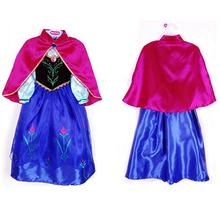 2016  hot selling girl princess dress vestidos infantis congelados anna elsa fever dress diamond dress costume