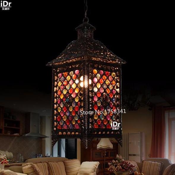 Купить Континентальный Железный настроение лампы гостиная огни спальня дом античная ретро деревенский лампы светильники Подвесные Светильники Rmy-0640