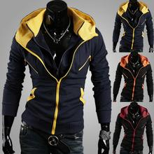 Assorted Colors Slim Hooded Outerwear Men,British style New Zipper Mens Hoodies Sweatshirts Fashion Joggers Fleece patchwork